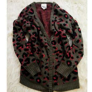Olive & Oak Leopard print cardigan sweater cozy